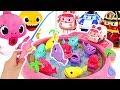 Let's go fishing with Amber & Mommy Shark vs Poli & Baby Shark! Fishing Play #PinkyPopTOY