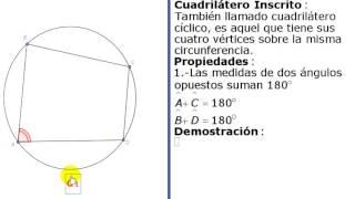 Cuadrilátero inscrito en la circunferencia propiedad 1 teoría