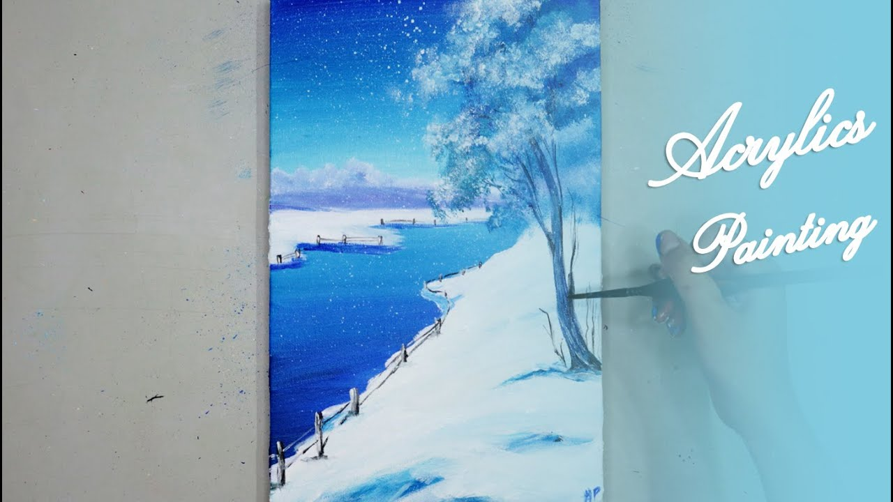 Acrylics Painting #127 Step by Step Draw The Winter Acrylic Painting For Beginners
