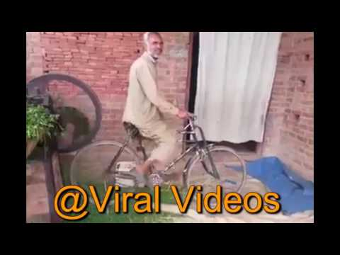 Desi Jugaad chaff cutter machine operating with bicycles