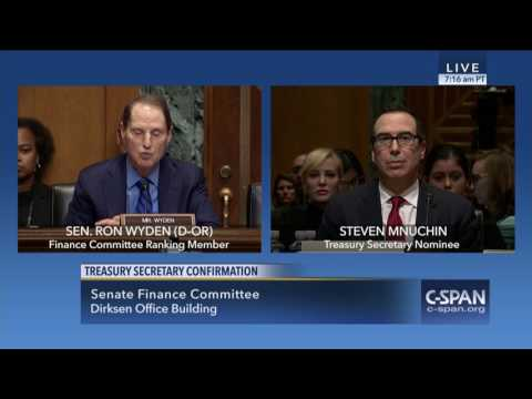Wyden on Mnuchin's offshore entities, foreclosure machine & qualifications to work for all Americans