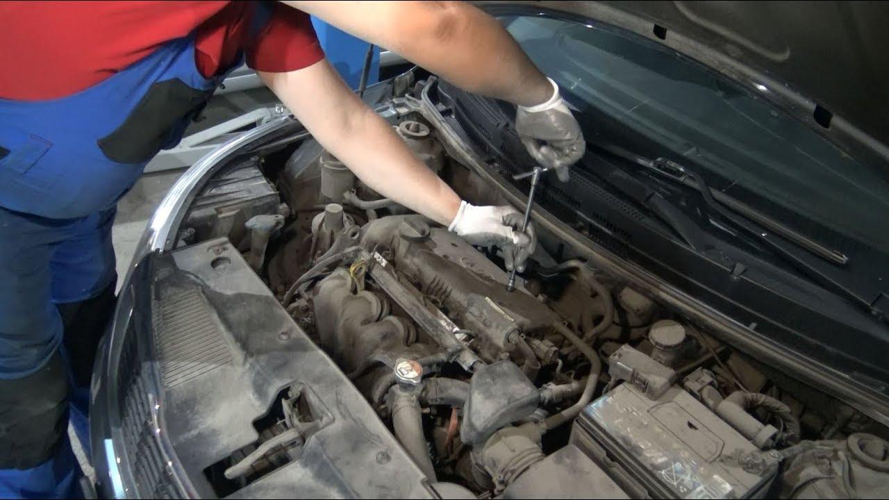 Замена свечей зажигания Hyundai Solaris и Kia Rio (двигатель G4FC)