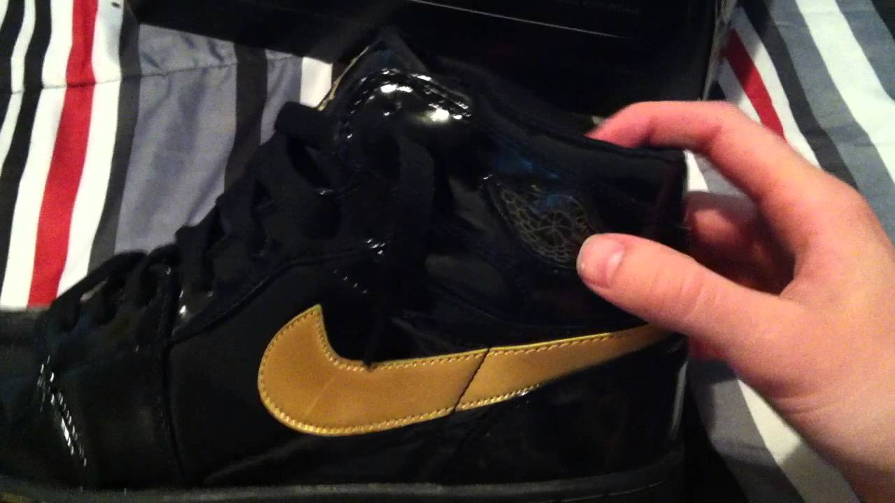 9e73440e3401 kicksfort.com review - Air Jordan 1 Retro Black   Gold Patent - kicksfort -  YouTube