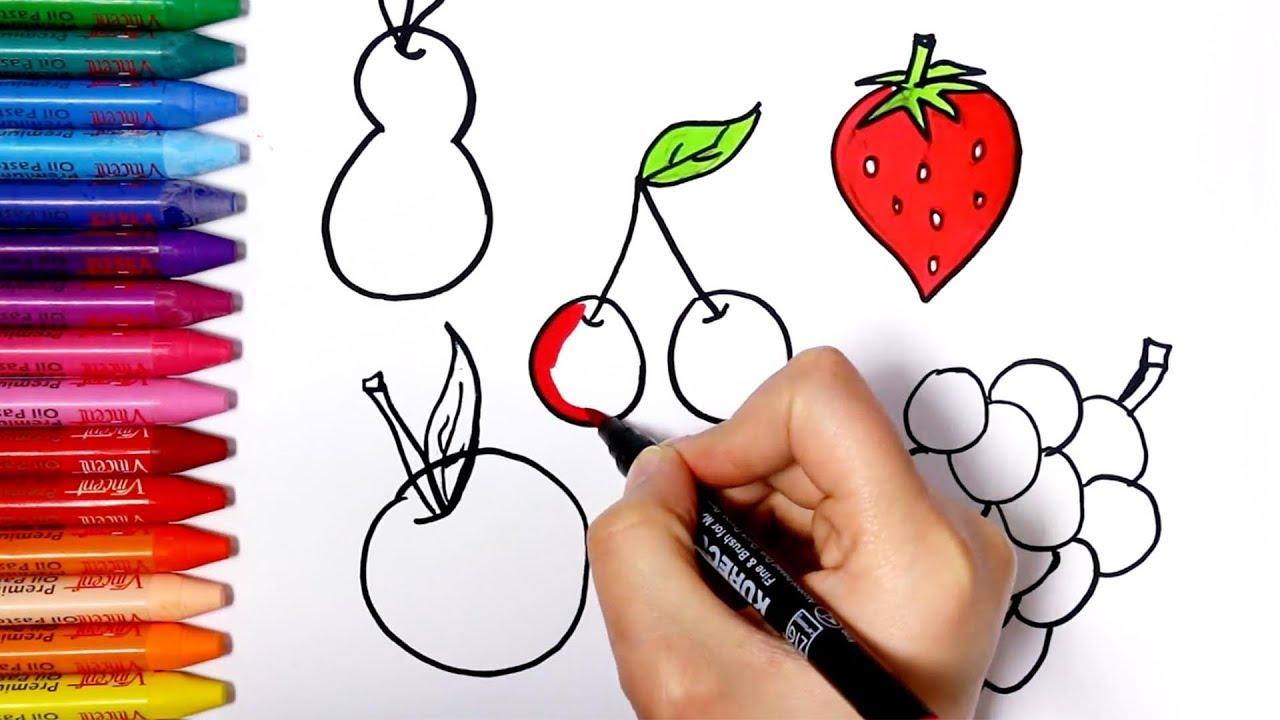 Meyve nasıl çizilir? Üzüm ve Portakal Çizimi ( How to draw fruit - grape and orange)-Renkli Dünyam
