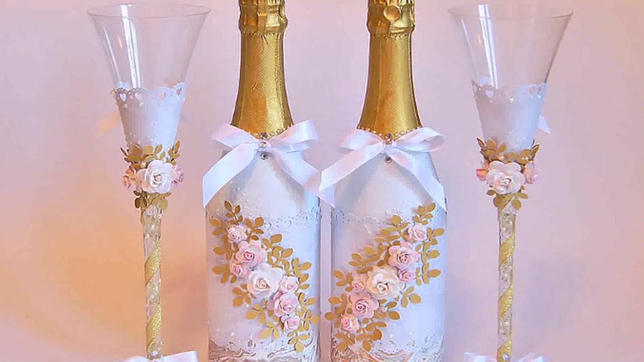 Бутылки для шампанского и бокалы на свадьбу своими руками фото 564