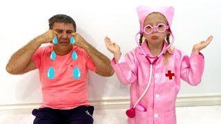 Nastya e engraçada história do pai triste e sonho estranho sobre uma boneca