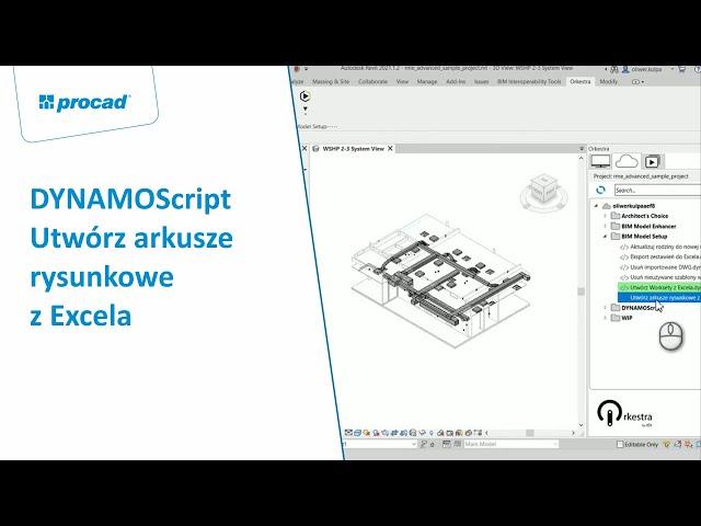 DYNAMOScript - Utwórz arkusze rysunkowe z Excela