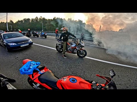 Пацаны Хулиганят в Центре КИЕВА на Мотоциклах РАЗБОРКИ на ДОРОГЕ