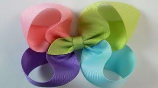 4 ribbon hair bow Tutti frutti ribbon Zo/'s Bows Pink and Yellow large ribbon bow