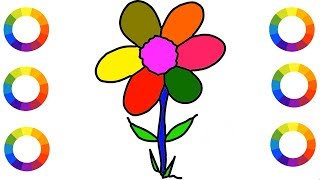 How to Draw Rainbow Color Flower for Kids Easily Step by Step    Drawing Beautiful Flower    Art