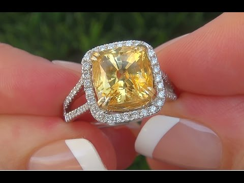 GIA Certified VS Natural Unheated Yellow Sapphire Diamond 18k ...