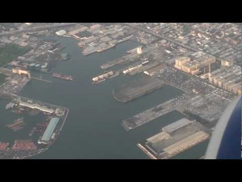 Red Hook Brooklyn port and lower Manhattan viewed by air