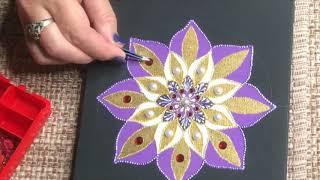 809.Мандала на холсте акриловыми красками. Точечная роспись. Mandala on canvas.Dot painting.