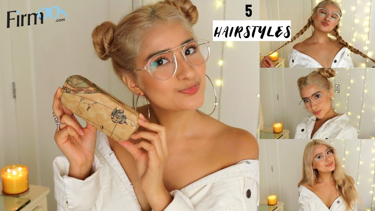 5 hairstyles to slay glasses! + firmoo glasses review ♡ hairstyles for  short&long hair!
