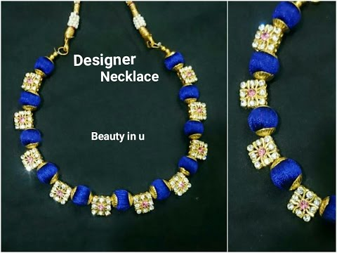 How to make Designer Silk Thread Necklace at Home Tutorial YouTube