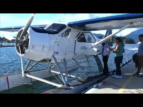 Harbour Air DHC-2 Floatplane Cockpit Flight Mail Run From Vancouver to Gulf Islands