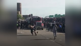 Tanker truck drives into a crowd of protesters in Minneapolis