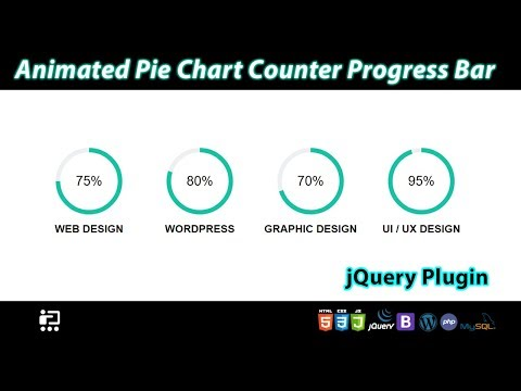 Create A Animated Pie Chart Counter Progress Bar With JQuery Plugin Using HTML