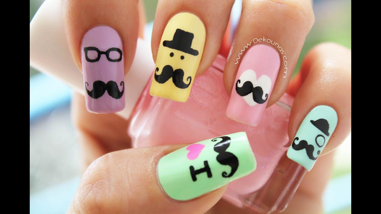 decoracin de uas mustache mustache nail art - Uas Decoracion