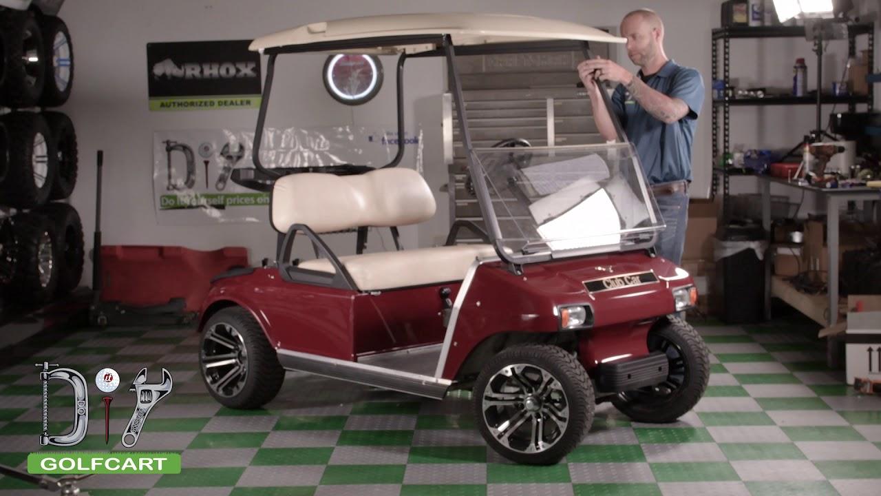 Club Car DS Golf Cart Folding Windshield Installation - YouTube Enclosures For Club Car Ds Golf Cart on 2008 precedent club car golf cart, yamaha golf cart covers for club cart, hard covers for club car golf cart, red dot enclosures golf cart,