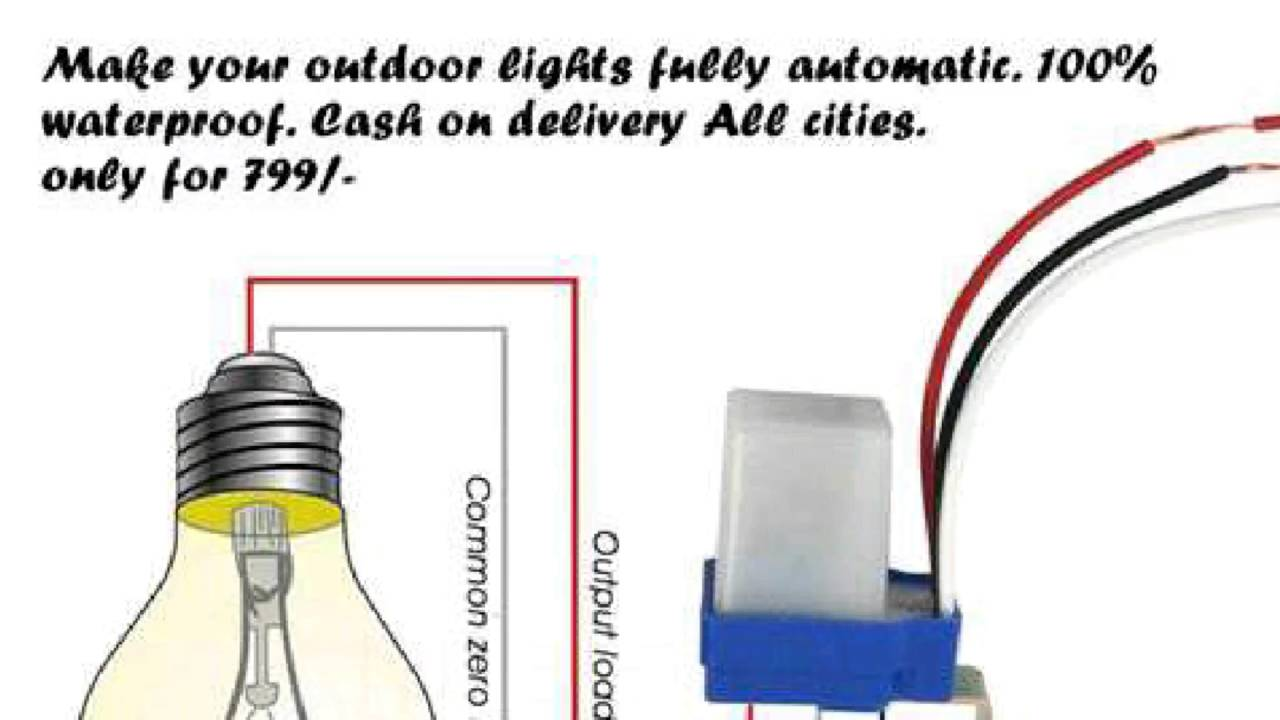 Photocell Light Sensor Wiring Diagram Water Heater Thermostat 100% Waterproof Auto On Off Street Switch - Youtube