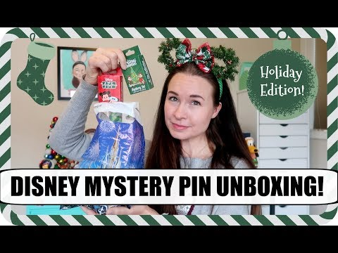 DISNEY MYSTERY PIN UNBOXING! HOLIDAY PINS! | Vlogmas 2017, Day 16