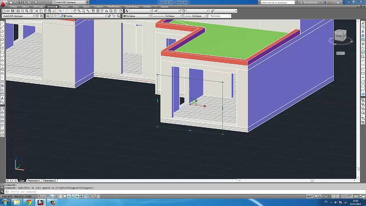Autocad 2013 tutoriel modelisation maison en 3d partie 2 for Modelisation maison 3d