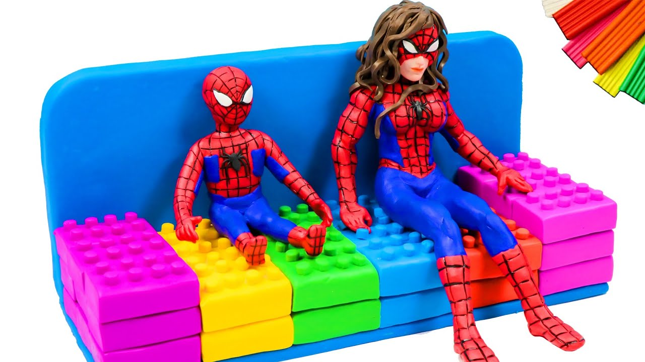 Satisfying Video 💎 Making Spiderman and SpiderGirl VS Sofa Lego with clay 💎 Polymer Clay Tutorial