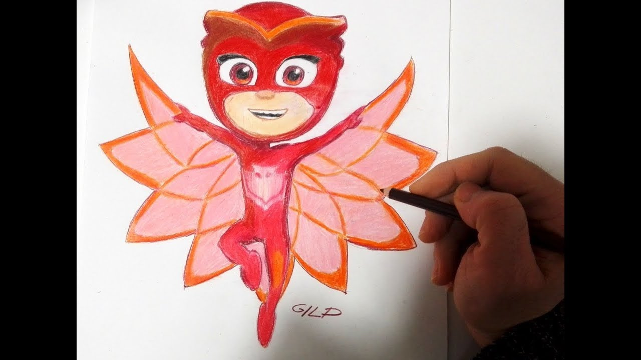 Come Disegnare E Colorare Gufetta Dei Pj Masks Youtube