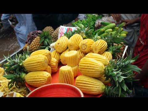 Fruit Ninja Of Dhaka |  Amazing Fruits Cutting Skills | Super First Pineapple Cutting Skill