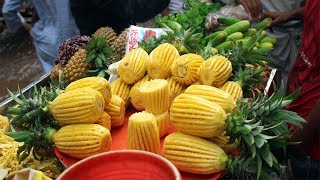 Fruit Ninja Of Dhaka |  Amazing Fruits Cutting Skills | Super First Pineapple Cutting Skill