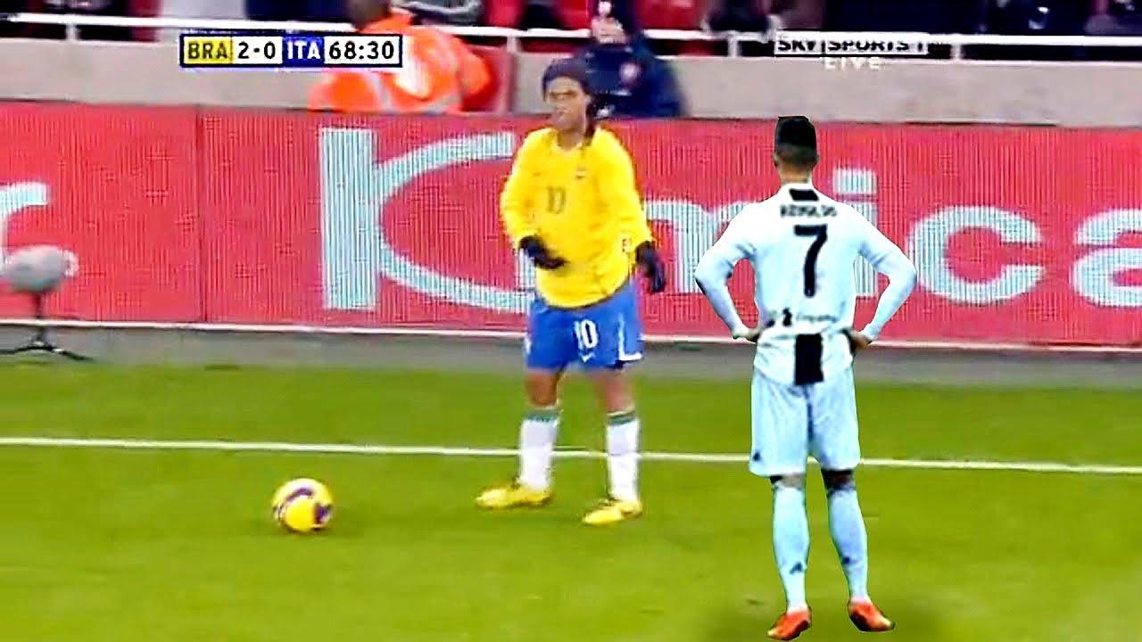 رونالدينهو يفاجئ اللاعبين... ويتحداهم بمهارة غير عادية !!