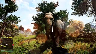 FAR CRY 4 Gameplay : Animal Wildlife ( Elephant Ride + Hunting )