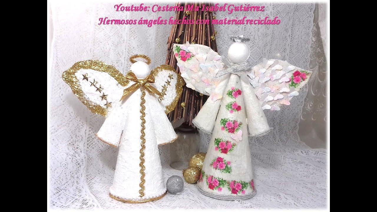 Imagenes De Angelitos Navidenos.Angelitos Navidenos Faciles Con Carton Y Papel How To Make Christmas Angels