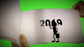 Happy New Year 2019 Flipping Book Animation Green Screen FULL HD