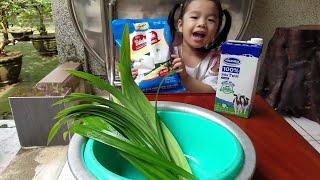 Cùng mẹ vào bếp làm bánh bao sữa tươi lá dứa 💚 Xí Mụi Food