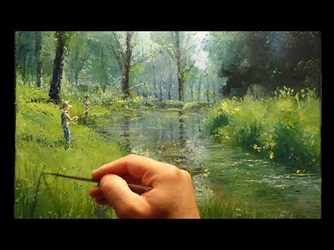 River Fishing – How to – Oil Painting – Palette Knife | Brush Nature Australia Landscape Trees Dusan