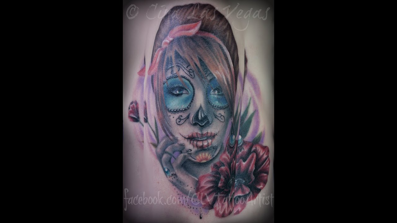 la catrina tattoo by cira las vegas youtube. Black Bedroom Furniture Sets. Home Design Ideas