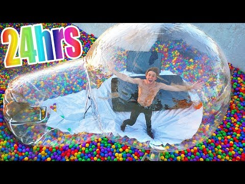 LIVING in GIANT BUBBLE Tent for 24 HOURS!