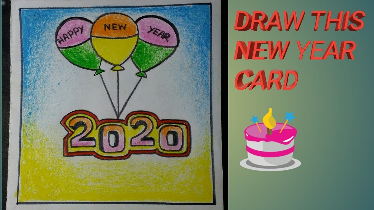 how to draw a happy new year card😊easy step😎  youtube