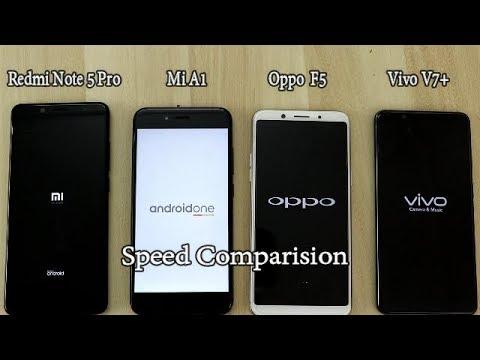 Xiaomi Redmi Note 5 Pro Vs Oppo F5 Vs Vivo V7+ Vs Xiaomi Mi A1 Comparision !! Speed Comparision !! H