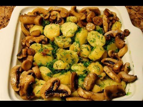 Как приготовить грибы шампиньоны в духовке с картошкой