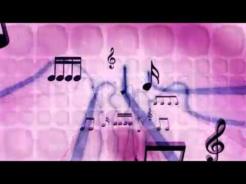 Arching Music Notes and Audio Waves Motion Background