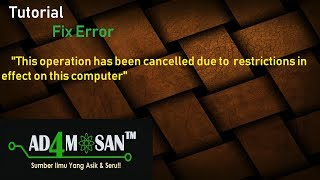 Fix Error This Operation Has Been Cancelled Due To