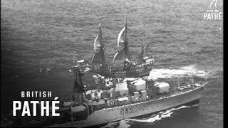 Meeting Of HMS Ark Royal And Mayflower II At Sea (1957)