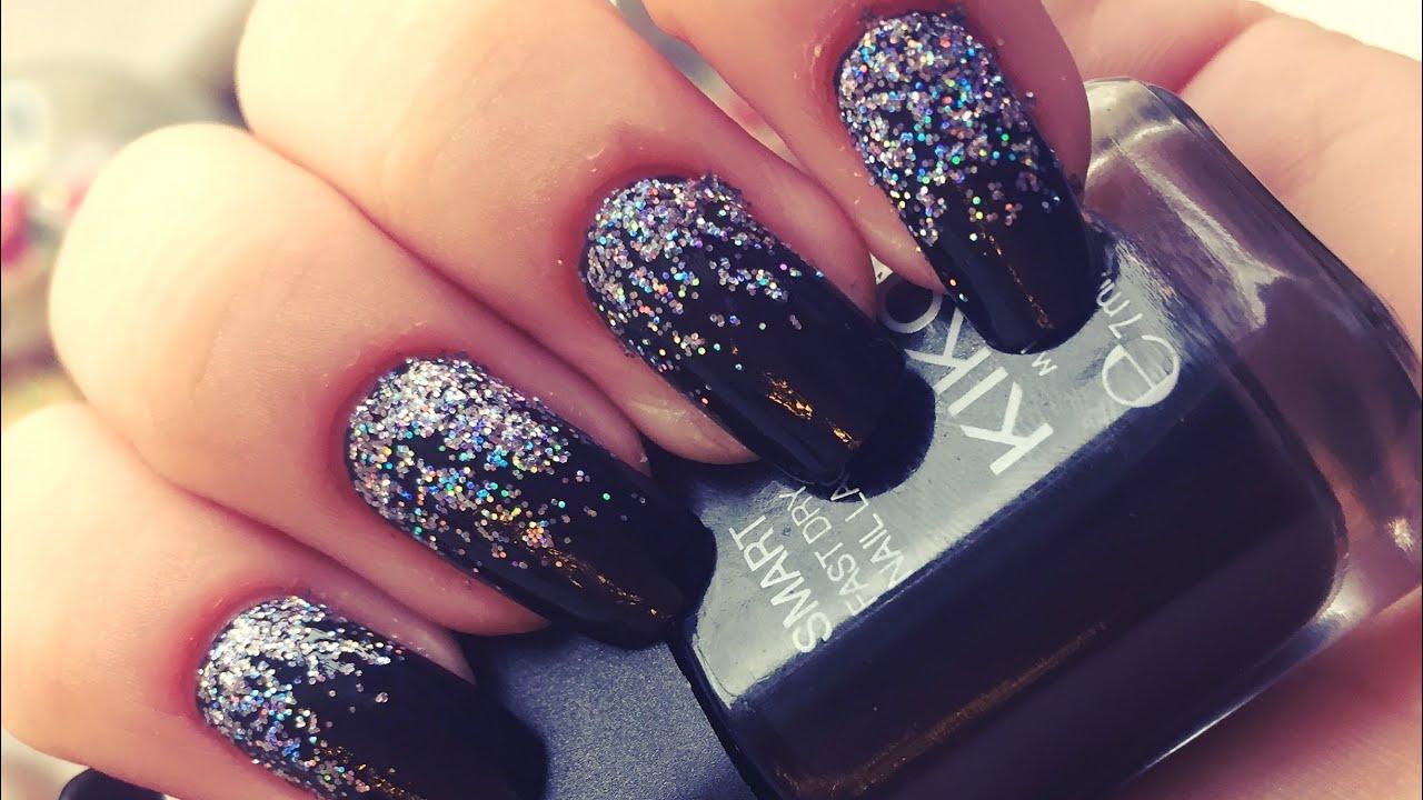 Easy Falling Glitter Nails (Black) - YouTube