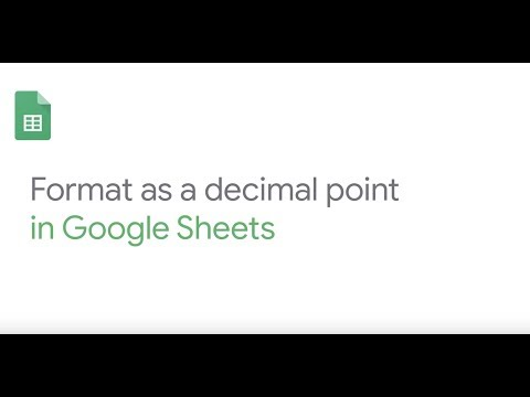 How to: Format a decimal point in Google Sheets