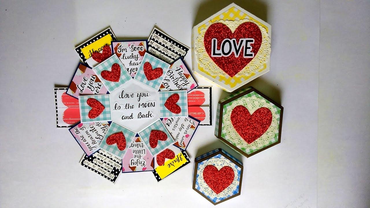 Special Birthday Card for Boyfriend | Hexagonal Explosion box for Birthday | Tutorial
