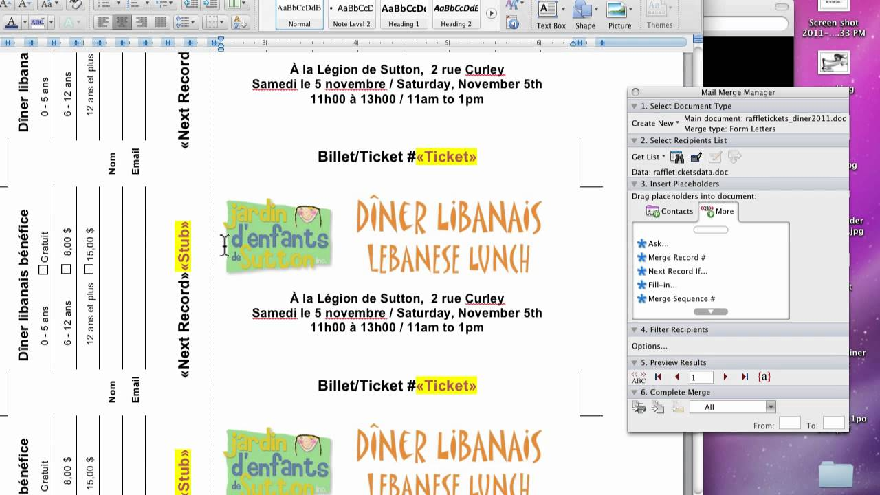 create raffle tickets in word