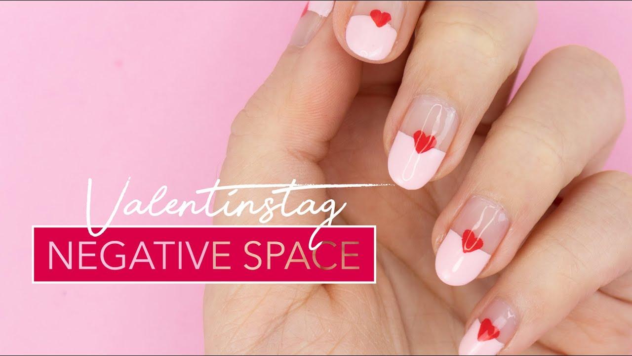 Valentinstag Negative Space Nägel   Einfaches Nageldesign ❤️